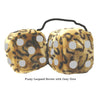 4 Inch Leopard Brown Fluffy Dice with Grey Dots