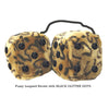 4 Inch Leopard Brown Fluffy Dice with BLACK GLITTER DOTS