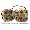 4 Inch Leopard Brown Fluffy Dice with ROYAL NAVY BLUE GLITTER DOTS