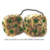 4 Inch Leopard Brown Fluffy Dice with DARK GREEN GLITTER DOTS