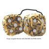 4 Inch Leopard Brown Fluffy Dice with SILVER GLITTER DOTS