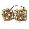 4 Inch Leopard Brown Fluffy Dice with WHITE GLITTER DOTS