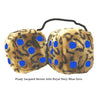 4 Inch Leopard Brown Fluffy Dice with Royal Navy Blue Dots