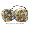 4 Inch Leopard Brown Fluffy Dice with Light Blue Dots
