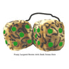 4 Inch Leopard Brown Fluffy Dice with Dark Green Dots