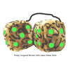 4 Inch Leopard Brown Fluffy Dice with Lime Green Dots