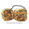 4 Inch Leopard Brown Fluffy Dice with Orange Dots