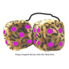 4 Inch Leopard Brown Fluffy Dice with Hot Pink Dots