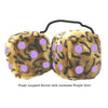 4 Inch Leopard Brown Fluffy Dice with Lavender Purple Dots