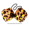 3 Inch Brown Leopard Furry Dice with Yellow Dots