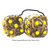 4 Inch Leopard Brown Fluffy Dice with Yellow Dots