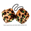 3 Inch Brown Leopard Furry Dice with DARK GREEN GLITTER DOTS