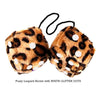 3 Inch Brown Leopard Furry Dice with WHITE GLITTER DOTS