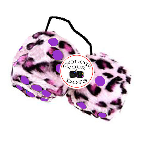4 Inch Pink Leopard Fuzzy Dice