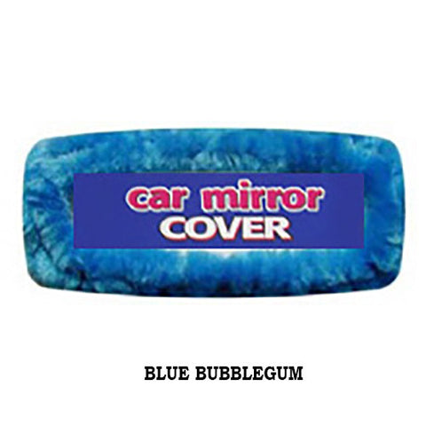 Fuzzy Rear View Mirror Cover - Bubblegum Blue