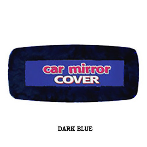 Furry Rear View Mirror Cover -  Dark Blue