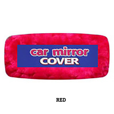 Fuzzy Rear View Mirror Cover - Red