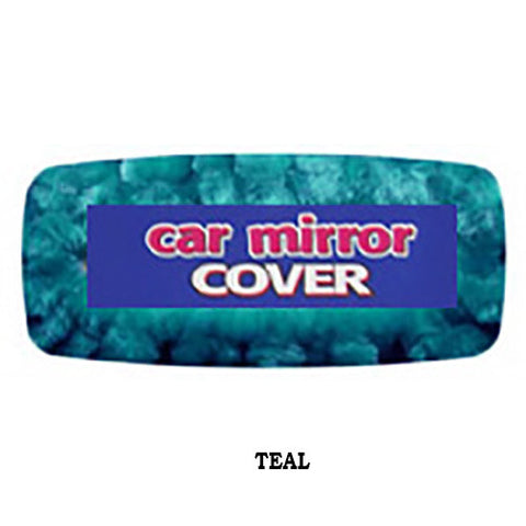 Furry Rear View Mirror Cover -  Teal