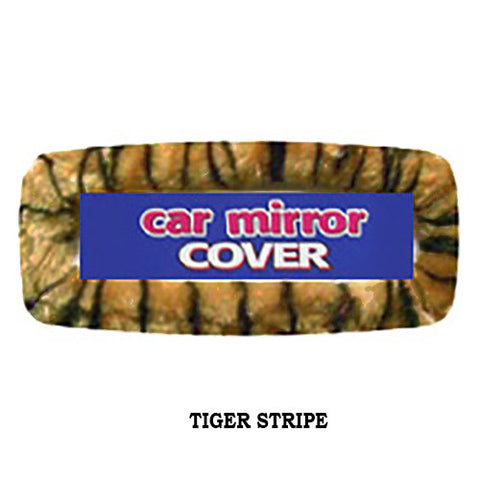 Furry Rearview Mirror Cover -  Tiger Stripe