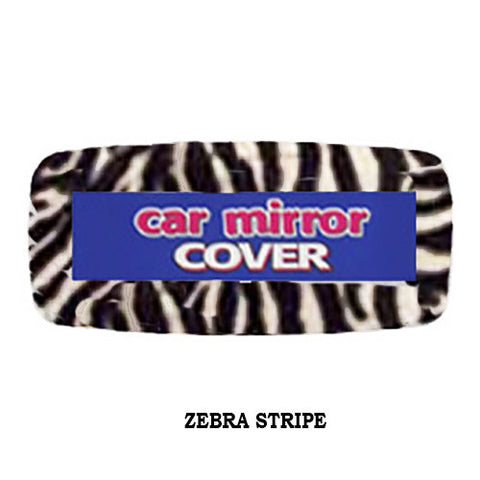 Furry Rear View Mirror Cover -  Zebra Stripe