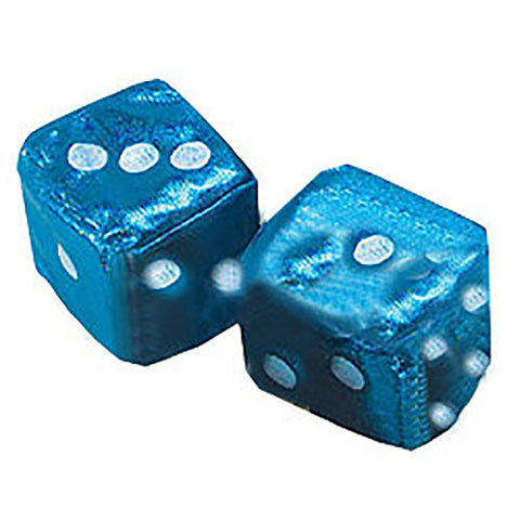2 Inch Plush Satin Blue Car Dice