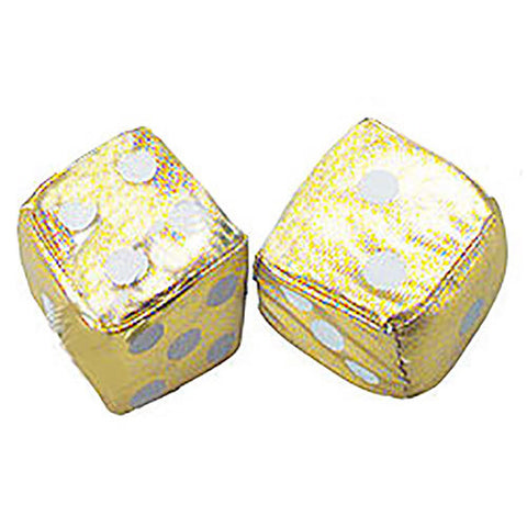 2 Inch Satin Gold Plush Dice For Cars