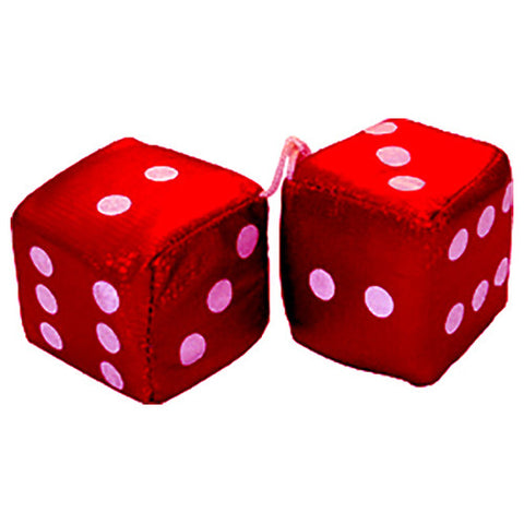 2 Inch Satin Red Plush Dice For Cars