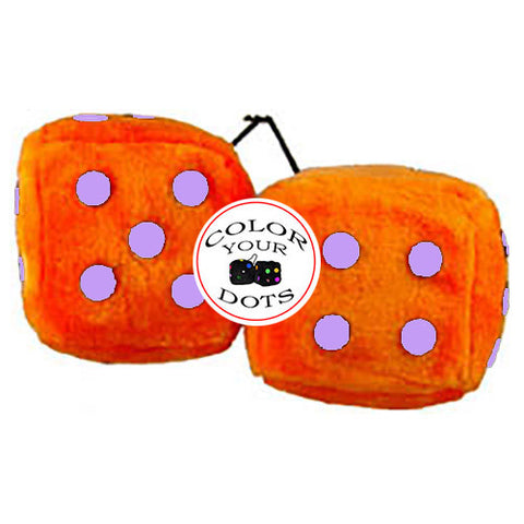 3 Inch Orange Fuzzy Dice