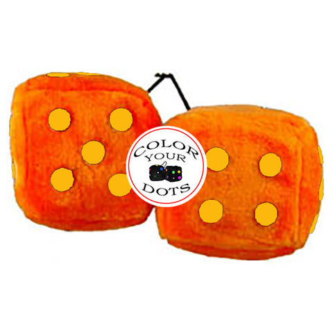 4 Inch Orange Fuzzy Dice