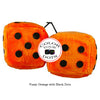 4 Inch Orange Fuzzy Dice with Black Dots