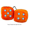 3 Inch Orange Fuzzy Dice with Light Blue Dots
