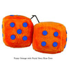 4 Inch Orange Fuzzy Dice with Royal Navy Blue Dots