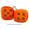 4 Inch Orange Fuzzy Dice with Dark Brown Dots