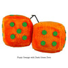 3 Inch Orange Fuzzy Dice with Dark Green Dots