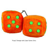 3 Inch Orange Fuzzy Dice with Lime Green Dots