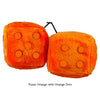 3 Inch Orange Fuzzy Dice with Orange Dots