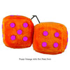 4 Inch Orange Fuzzy Dice with Hot Pink Dots