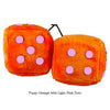 3 Inch Orange Fuzzy Dice with Light Pink Dots