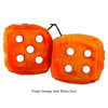 4 Inch Orange Fuzzy Dice with White Dots