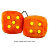 4 Inch Orange Fuzzy Dice with Yellow Dots