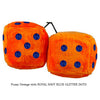 4 Inch Orange Fluffy Dice with ROYAL NAVY BLUE GLITTER DOTS