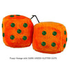 3 Inch Orange Fuzzy Dice with DARK GREEN GLITTER DOTS