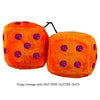 3 Inch Orange Fuzzy Dice with HOT PINK GLITTER DOTS