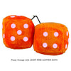 3 Inch Orange Fuzzy Dice with LIGHT PINK GLITTER DOTS