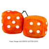 3 Inch Orange Fuzzy Dice with WHITE GLITTER DOTS