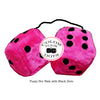 3 Inch Hot Pink Furry Dice with Black Dots