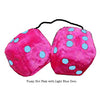 3 Inch Hot Pink Furry Dice with Light Blue Dots