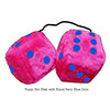 3 Inch Hot Pink Furry Dice with Royal Navy Blue Dots