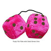 3 Inch Hot Pink Furry Dice with Dark Brown Dots
