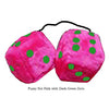 3 Inch Hot Pink Furry Dice with Dark Green Dots